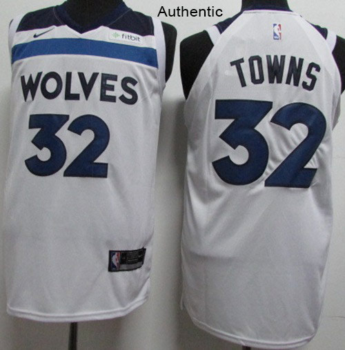 Nike Timberwolves #32 Karl-Anthony Towns White NBA Authentic Association Edition Jersey