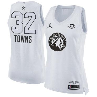 Nike Timberwolves #32 Karl-Anthony Towns White Women's NBA Jordan Swingman 2018 All-Star Game Jersey