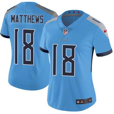 Nike Titans #18 Rishard Matthews Light Blue Team Color Women's Stitched NFL Vapor Untouchable Limited Jersey