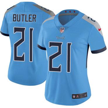 Nike Titans #21 Malcolm Butler Light Blue Team Color Women's Stitched NFL Vapor Untouchable Limited Jersey