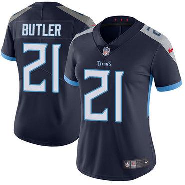 Nike Titans #21 Malcolm Butler Navy Blue Alternate Women's Stitched NFL Vapor Untouchable Limited Jersey