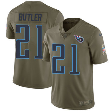 Nike Titans #21 Malcolm Butler Olive Youth Stitched NFL Limited 2017 Salute to Service Jersey