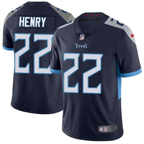 Nike Titans #22 Derrick Henry Navy Blue Team Color Men's Stitched NFL Vapor Untouchable Limited Jersey