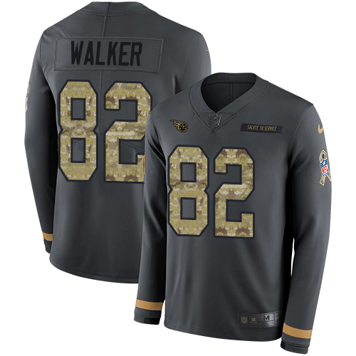 Nike Titans #82 Delanie Walker Anthracite Salute to Service Men's Stitched NFL Limited Therma Long Sleeve Jersey