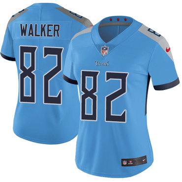 Nike Titans #82 Delanie Walker Light Blue Team Color Women's Stitched NFL Vapor Untouchable Limited Jersey