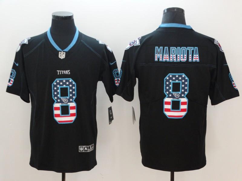 Nike Titans 8 Marcus Mariota Black USA Flag Fashion Color Rush Limited Jersey