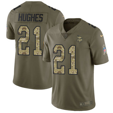 Nike Vikings #21 Mike Hughes Olive Camo Men's Stitched NFL Limited 2017 Salute To Service Jersey