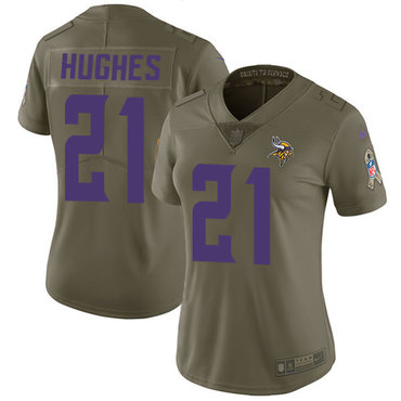Nike Vikings #21 Mike Hughes Olive Women's Stitched NFL Limited 2017 Salute to Service Jersey
