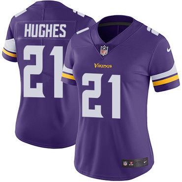 Nike Vikings #21 Mike Hughes Purple Team Color Women's Stitched NFL Vapor Untouchable Limited Jersey
