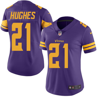 Nike Vikings #21 Mike Hughes Purple Women's Stitched NFL Limited Rush Jersey
