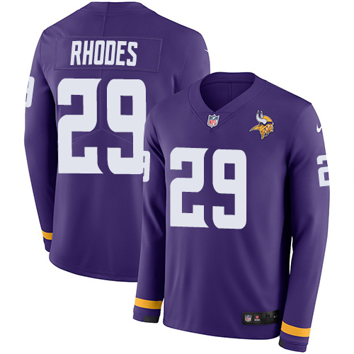 Nike Vikings #29 Xavier Rhodes Purple Team Color Men's Stitched NFL Limited Therma Long Sleeve Jersey