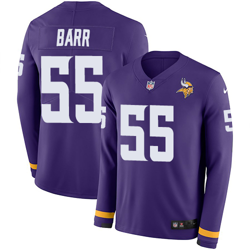 Nike Vikings #55 Anthony Barr Purple Team Color Men's Stitched NFL Limited Therma Long Sleeve Jersey