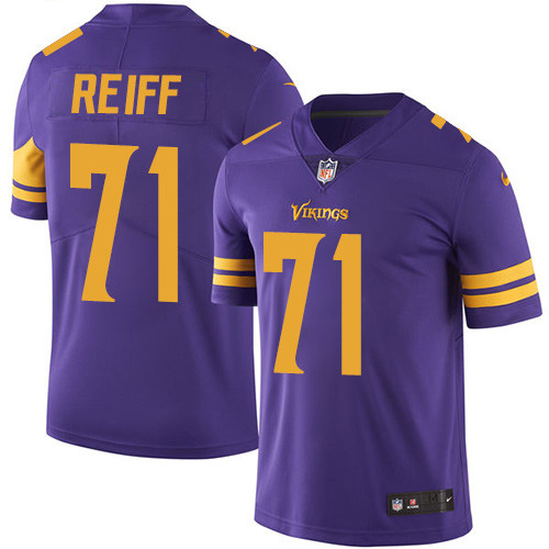 Nike Vikings #71 Riley Reiff Purple Men's Stitched NFL Limited Rush Jersey