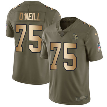 Nike Vikings #75 Brian O'Neill Olive Gold Men's Stitched NFL Limited 2017 Salute To Service Jersey