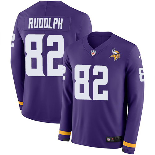 Nike Vikings #82 Kyle Rudolph Purple Team Color Men's Stitched NFL Limited Therma Long Sleeve Jersey