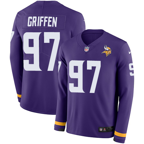 Nike Vikings #97 Everson Griffen Purple Team Color Men's Stitched NFL Limited Therma Long Sleeve Jersey