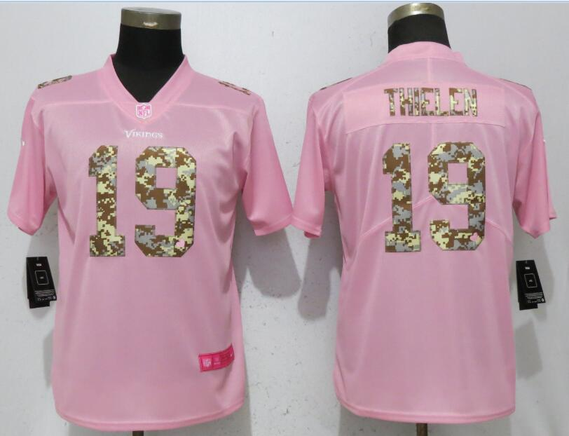 Nike Vikings 19 Adam Thielen Pink Camo Fashion Women Limited Jersey
