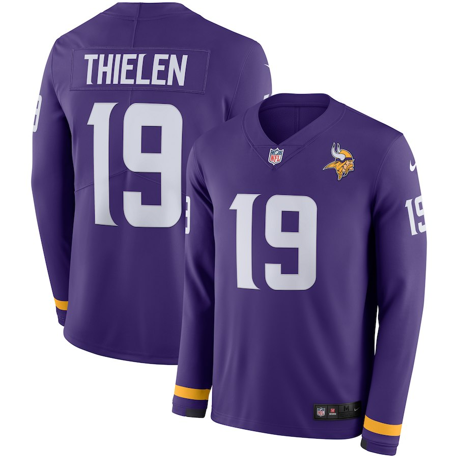 Nike Vikings 19 Adam Thielen Purple Therma Long Sleeve Jersey