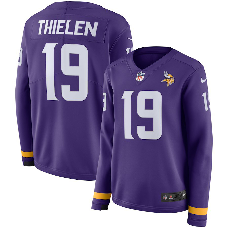 Nike Vikings 19 Adam Thielen Purple Women Therma Long Sleeve Jersey
