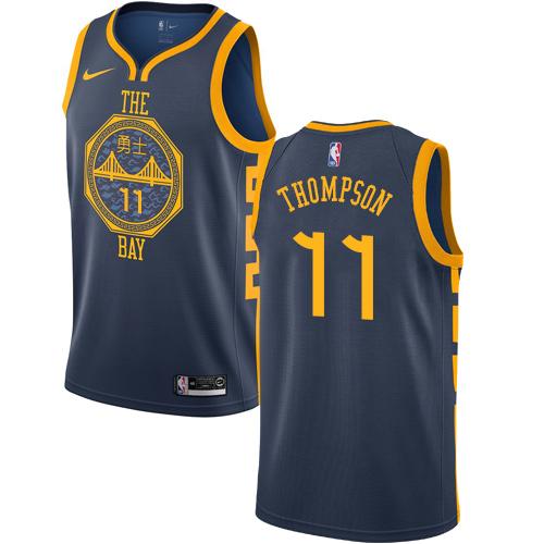 Nike Warriors #11 Klay Thompson Navy NBA Swingman City Edition 2018 19 Jersey