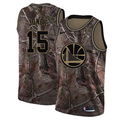 Nike Warriors #15 Damian Jones Camo NBA Swingman Realtree Collection Jersey