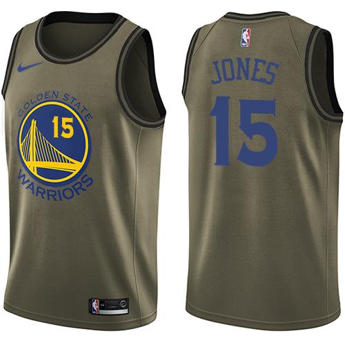 Nike Warriors #15 Damian Jones Green NBA Swingman Salute to Service Jersey