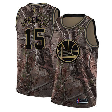Nike Warriors #15 Latrell Sprewell Camo NBA Swingman Realtree Collection Jersey