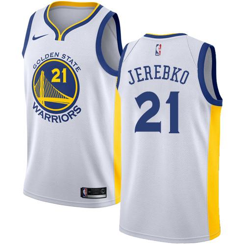 Nike Warriors #21 Jonas Jerebko White NBA Swingman Association Edition Jersey