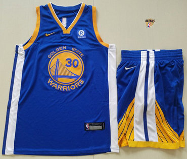 Nike Warriors #30 Stephen Curry Blue A Set The Finals Patch NBA Swingman Icon Edition Jersey