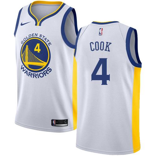 Nike Warriors #4 Quinn Cook White NBA Swingman Association Edition Jersey