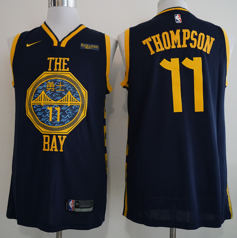 Nike Warriors 11 Klay Thompson Navy 2018-19 City Edition Nike Swingman Jersey