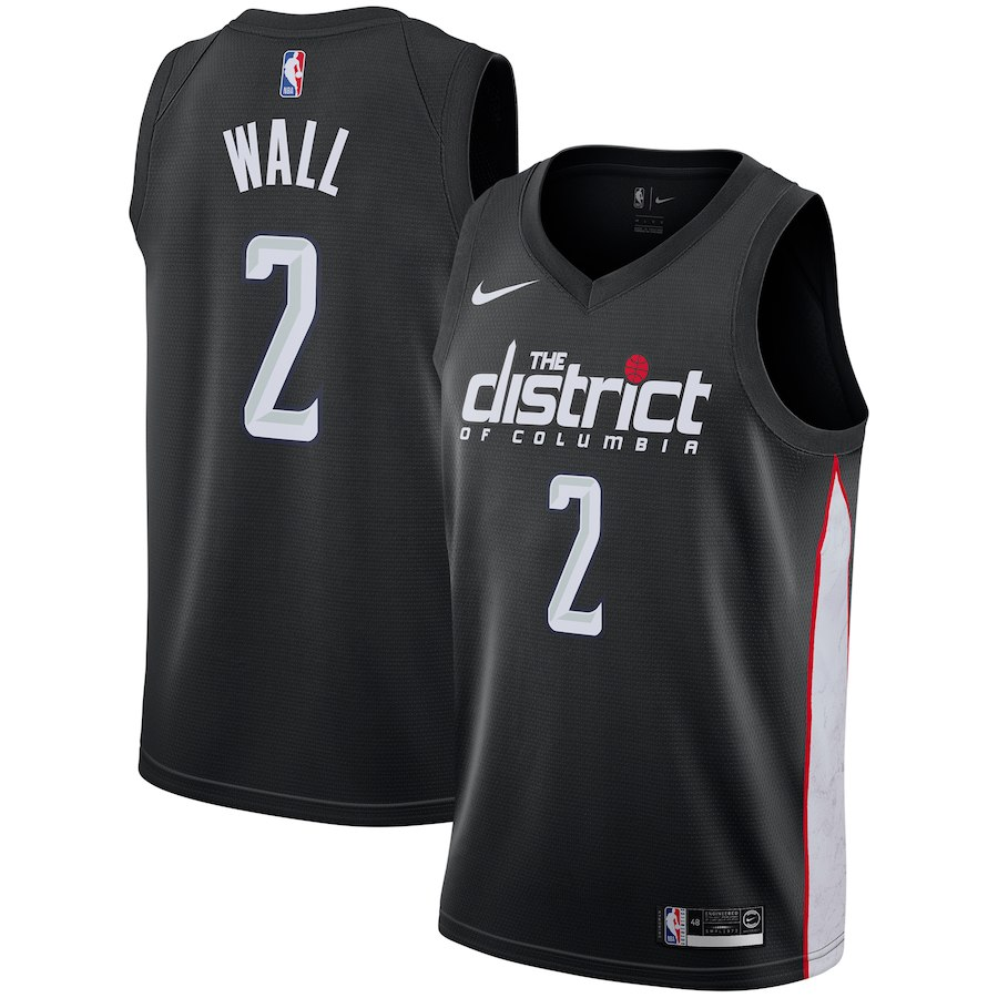 Nike Wizards 2 John Wall Black 2018-19 City Edition Nike Swingman Jersey