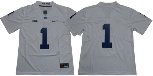 Nittany Lions #1 White Limited Stitched NCAA Jersey