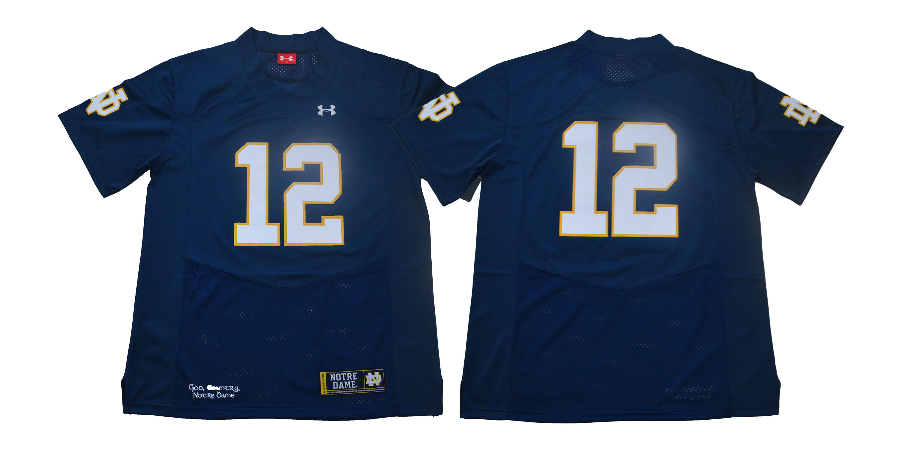 Notre Dame Fighting Irish #12 Blue Under Armour College Football Jersey
