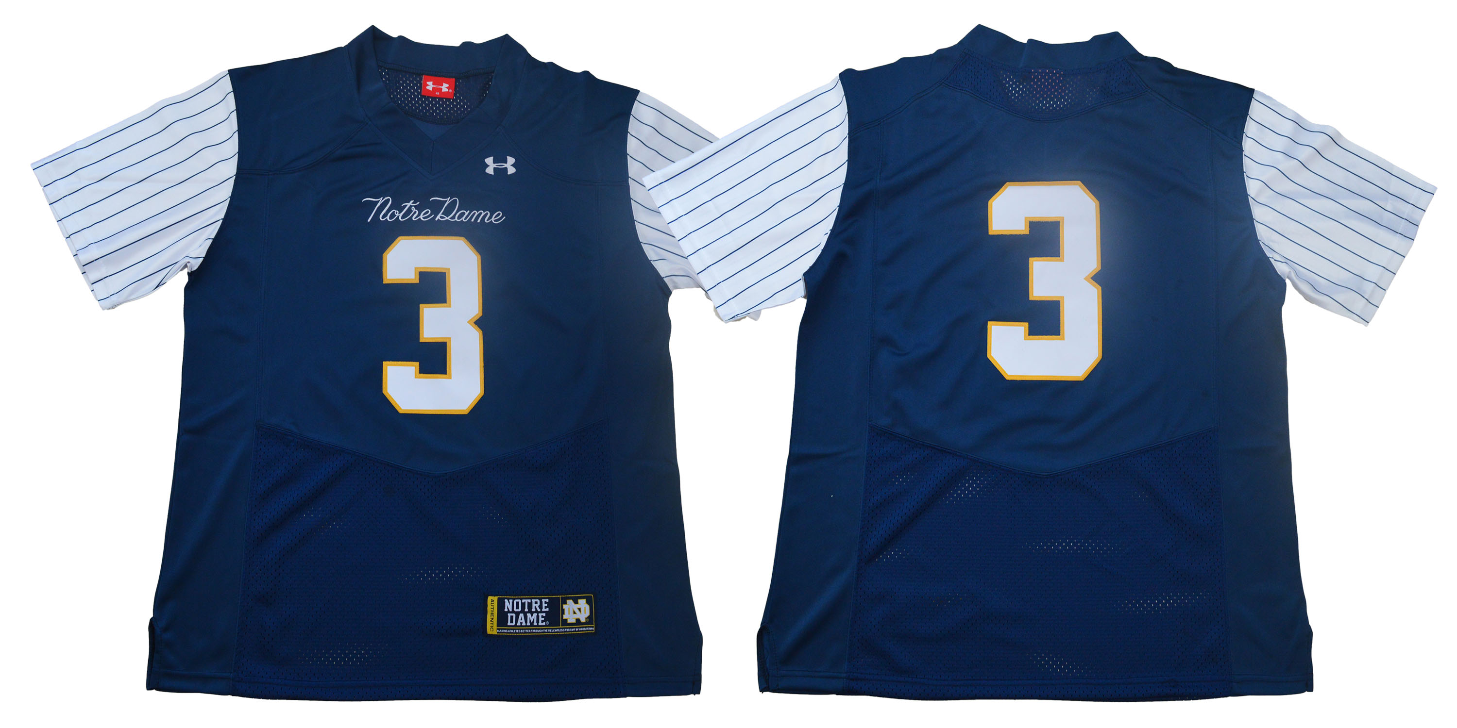 Notre Dame Fighting Irish #3 Blue Under Armour College Throwback Football Jersey