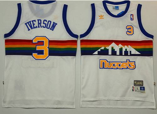 Nuggets #3 Allen Iverson White Throwback Stitched NBA Jersey