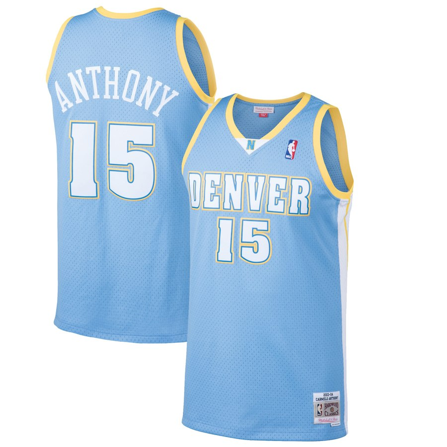 Nuggets 15 Carmelo Anthony Blue Mesh Hardwood Classics Jersey