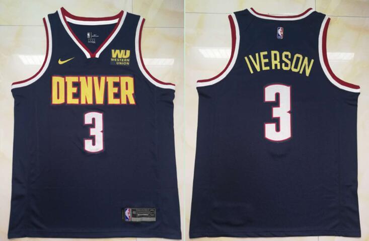 Nuggets 3 Allen Iverson Navy Nike Swingman Jersey