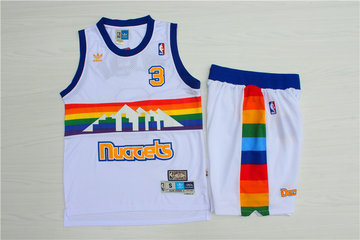 Nuggets 3 Allen Iverson White Hardwood Classics Jersey(With Shorts)