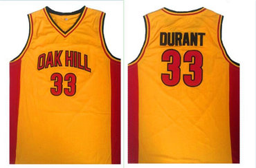 Oak Hill 33 Kevin Durant Yellow High School Basketball Jersey