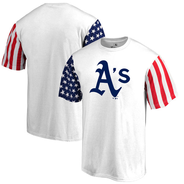 Oakland Athletics Fanatics Branded Stars & Stripes T-Shirt White