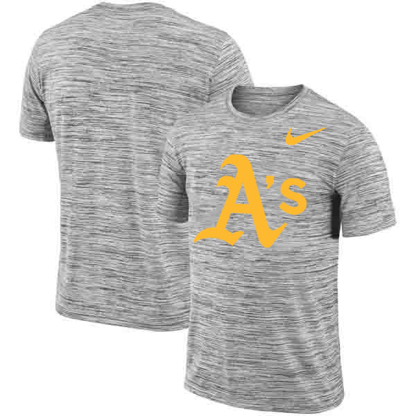 Oakland Athletics Nike Heathered Black Sideline Legend Velocity Travel Performance T-Shirt