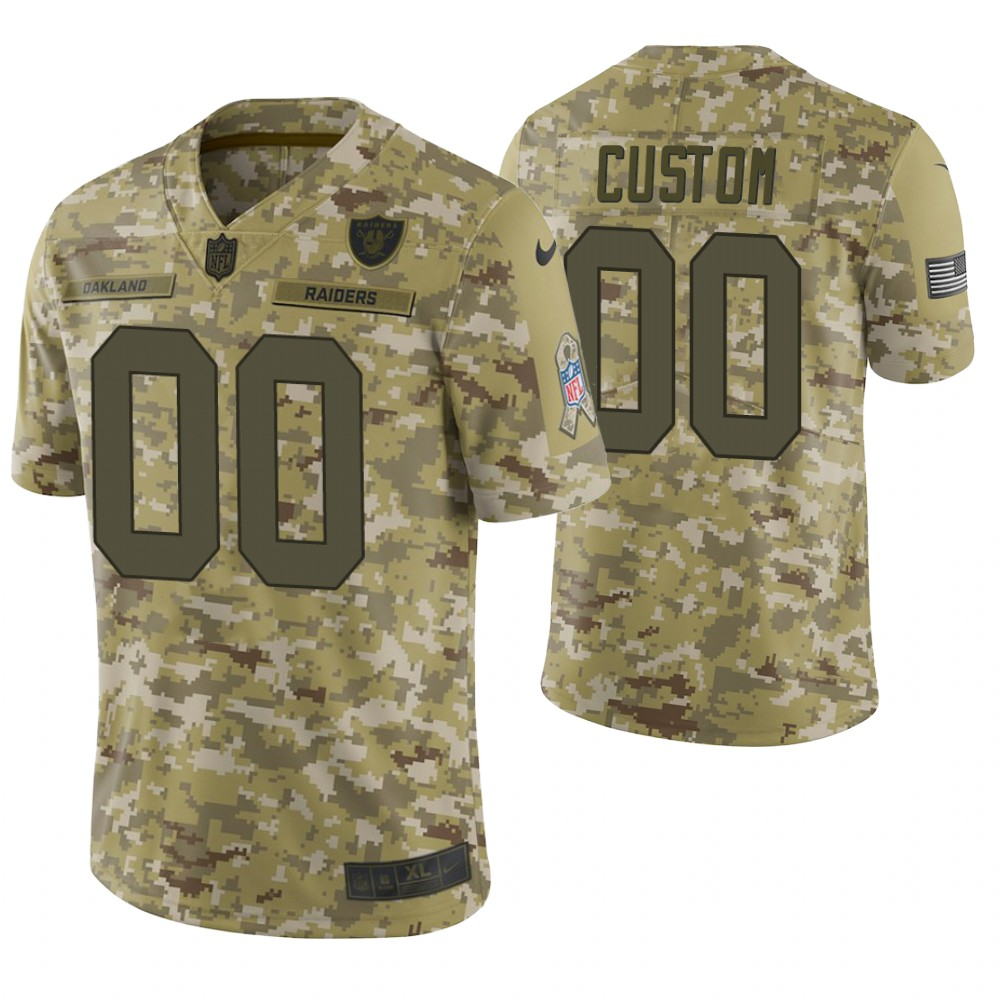 Oakland Raiders Custom Camo 2018 Salute to Service Limited Jersey