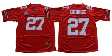 Ohio State Buckeyes 27 Eddie George Red Throwback College Football Jersey