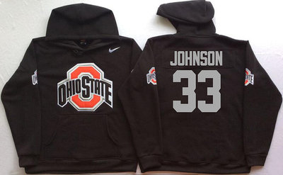 Ohio State Buckeyes 33 Pete Johnson Black Men's Pullover Hoodie