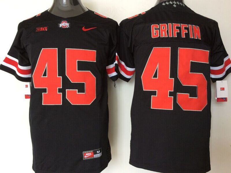 Ohio State Buckeyes 45 Archie Griffin Black College Football Jersey