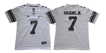 Ohio State Buckeyes 7 Dwayne Haskins Jr White Shadow College Football Jersey