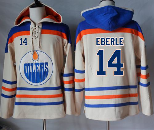 Oilers #14 Jordan Eberle Cream Sawyer Hooded Sweatshirt Stitched NHL Jersey