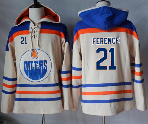 Oilers #21 Andrew Ference Cream Sawyer Hooded Sweatshirt Stitched NHL Jersey