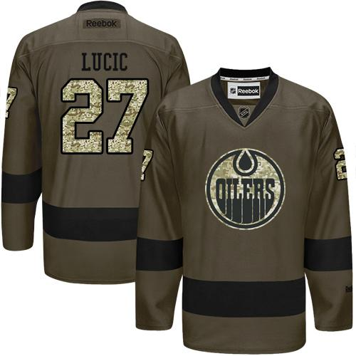 Oilers #27 Milan Lucic Green Salute to Service Stitched NHL Jersey